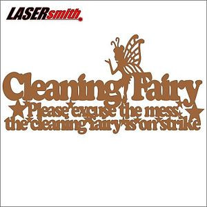 Details about Cleaning Fairy on Strike - MDF quote plaque for craft ...