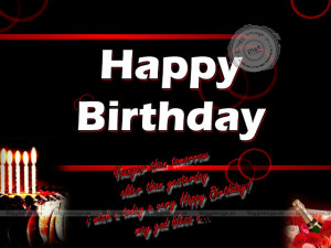 ... Gallery: Happy Birthday Quotes In Black Background And The Red Words