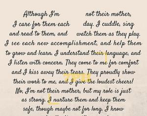 Stepmother Poems Caregiver/daycare poem print