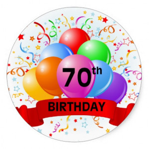 70th Birthday Banner Balloons Sticker