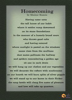 Poem: Homecoming by Maxine Kumin