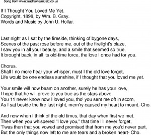 American Old Time Song Lyrics: 61 If I Thought You Loved Me Yet