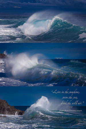 Rough Sea Tryptich 2 With Quote Photograph