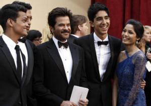 Cast of Slumdog Millionaire, from left, Madhur Mittal, Irrfan Khan