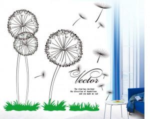Dandelion flowers painting home decoration big wall art self adhesive ...