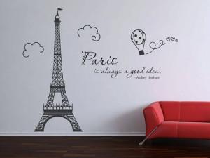 Paris Eiffel Tower Audrey Hepburn quote wall decal vinyl decal