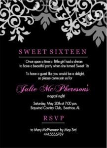 Black And Pink Flourish Sweet 16th Birthday Invitation Wording