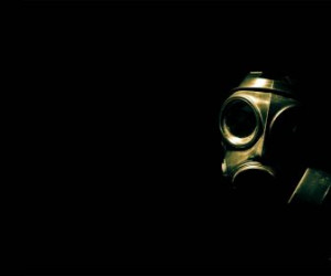 Gas Masks Black Background