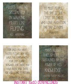 ... Instant Download Digital File Art - Aviation Pilot Office Quotes