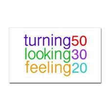 Turning 50 Looking 30 Rectangle Sticker for