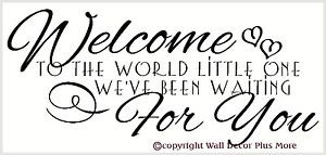 Welcome-to-the-World-Little-One-Baby-Room-Wall-Sticker-Quote-for ...