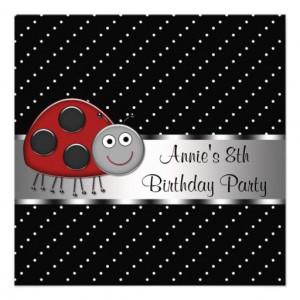 red_ladybug_girls_8th_birthday_party_custom_invite ...