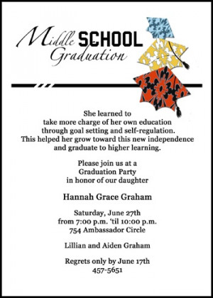 ... middle school graduation announcement invitation cards with colorful