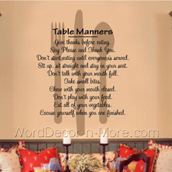 ... reminder of good manners with our table manners kitchen dining room