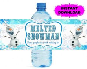 Free Olaf Frozen Water Bottle Labels