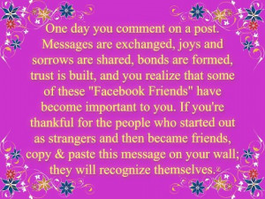loved this one. I know that my facebook friends have become such an ...