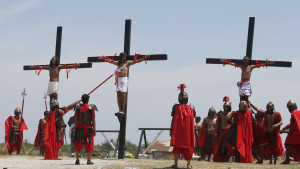 ... re enactment of the crucifixion of jesus christ on good friday in san