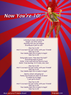 Lyric Sheet for original 10th birthday song for a girl