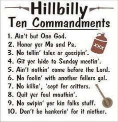 Hillbilly Ten Commandments More