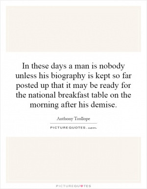 ... for the national breakfast table on the morning after his demise