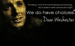 Another lighthearted line from the bad boy of Supernatural . This one ...