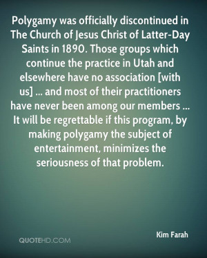 Polygamy was officially discontinued in The Church of Jesus Christ of ...