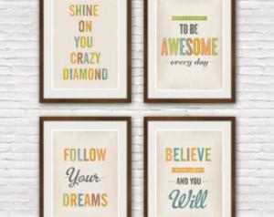 Quote print set, shabby chic decor, typographic wall decor ...