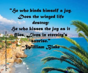 He who binds himself a joy, Does the winged life destroy;