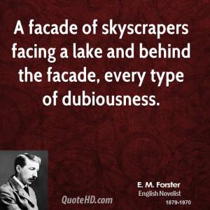 facade of skyscrapers facing a lake and behind the facade, every ...