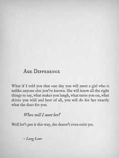 Age Difference, Lang Leav