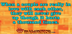 When a couple are really in love with each other, they will never ...