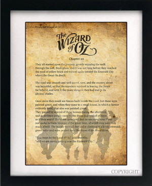 Wizard of Oz Dorothy Quote Art Book Print - A3 or A4 Large Vintage ...