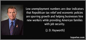 unemployment numbers are clear indicators that Republican tax relief ...