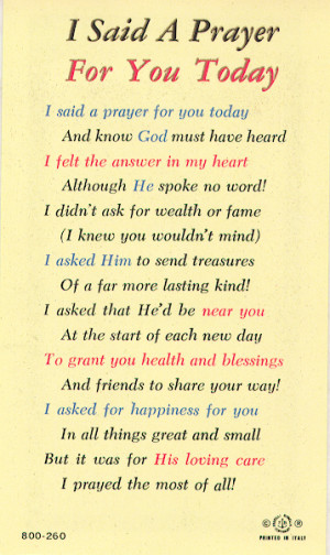 Said a Prayer for You Today Laminated Holy Card #800260