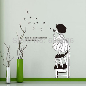 Fashion Removable A Little Girl Blow Flying Dandelion Wall Sticker ...