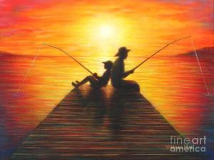 Fishing With Grandpa Painting