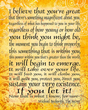 ... that you're Great - 11x14 Word Art Prints - Michael Beckwith quote