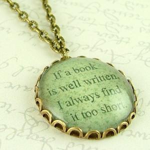 Jane Austen Quote - Book Well Written - Literary Glass Necklace ...