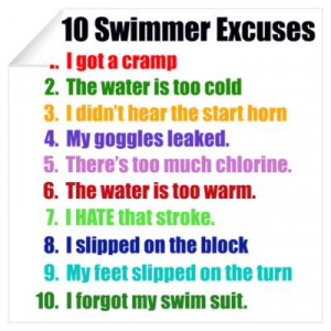 CafePress > Wall Art > Wall Decals > Swimming Excuses Wall Decal