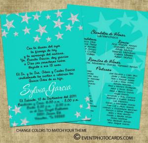 Turquoise Stars Theme Quinceanera Invite D39