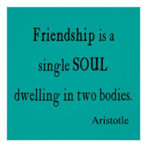 Vintage Aristotle Friendship Single Soul Quote Poster