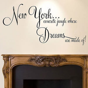 Details about New York Wall Sticker Quote - Dreams Home Bedroom Decal ...