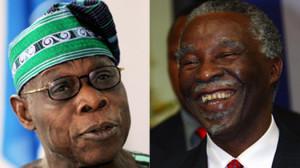 Former Nigerian President Olusegun Obasanjo, left, and former South ...