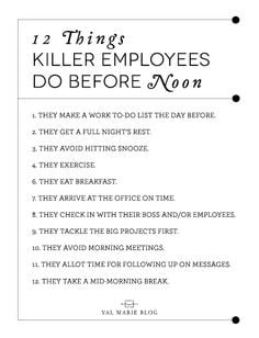 Be a KILLER employee! #HR #Jobs More