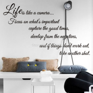 camera focus on what's important...'' Vinyl Art Wall sticker Quotes ...
