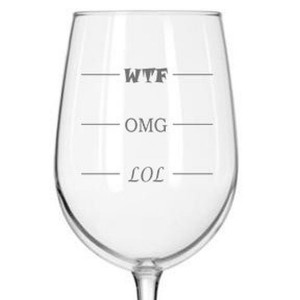 Funny sayings that are at home on wine glasses