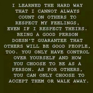hard-learned lesson, that's for sure.