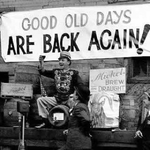 man celebrating the end of the prohibition 'era'.