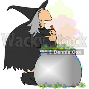 Wicked Witch Stirring a Magical Potion in a Cauldron with a Wooden ...