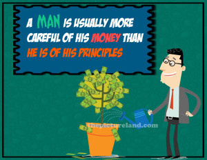 Man Giving Water To Money Plant Quotes Images
